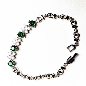 Jewelry - Round Cut Green Emerald Gold Plated Bracelet